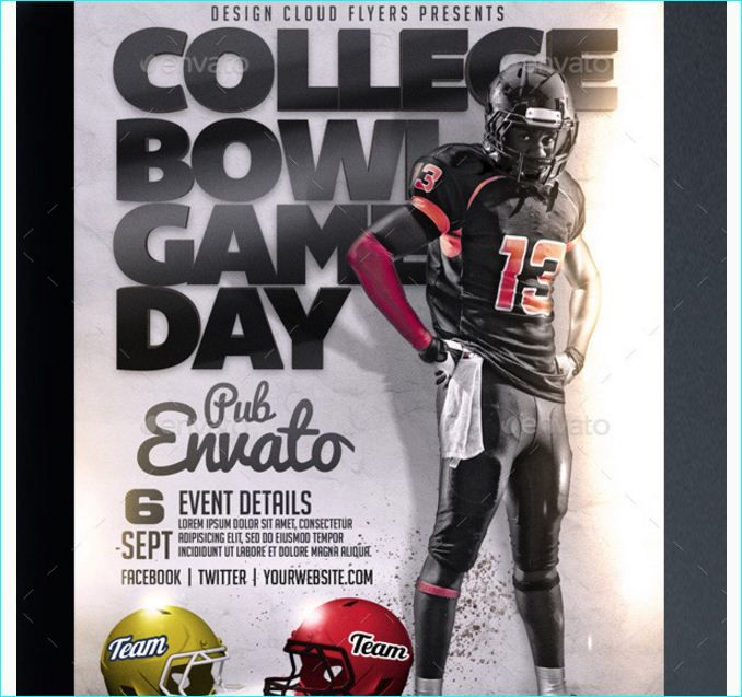 Bowl Game Day Football Flyer  Party Flyer Templates For Clubs