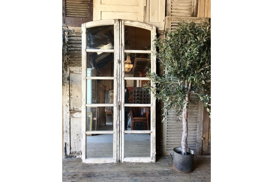 Beautiful Vintage French Industrial / Architectural Mirrored Window Frame   Vinterior