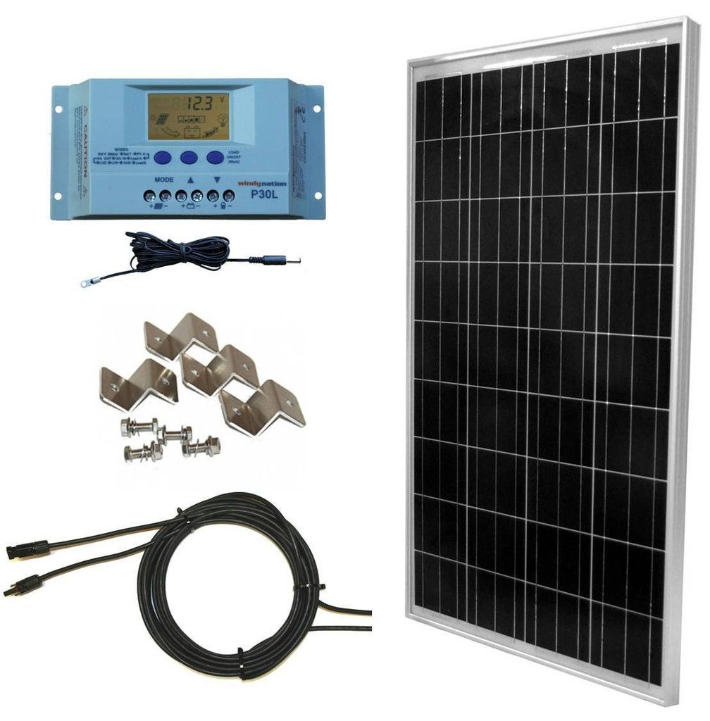 100 Watt Solar Panel Complete Off Grid Rv Boat Kit With Lcd Pwm Charge Controller Solar Cable Mc4 Connectors Mounting Br Solar Kit Solar Power Kits Solar
