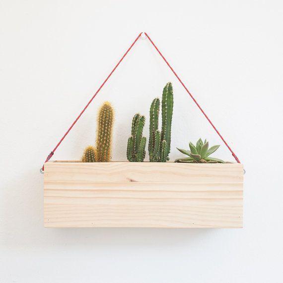 Wood hanging planter - Modern wall hanging plant box - Rectangular ...