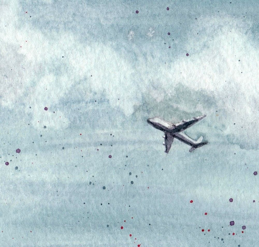 Airplane In The Sky Limited Edition Watercolor Print Airplane