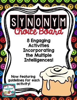 Synonym Choice Board With Activity Guidelines Choice Boards Cooperative Learning Multiple Intelligences