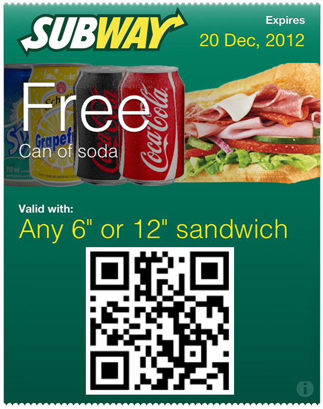free drink at subway passbook pass scan the qr code to add to