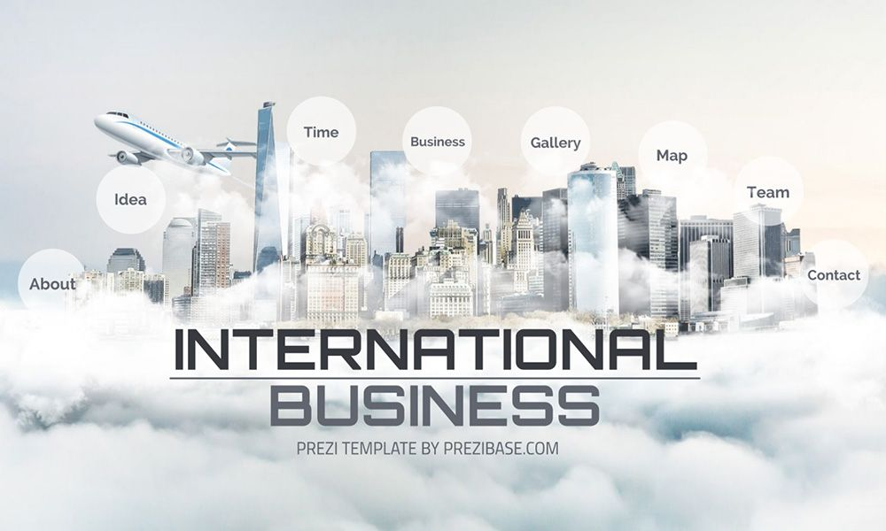3d city in sky clouds creative business presentation templaet for prezi next