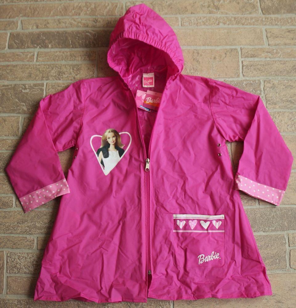 d427d7103f86 NWT Barbie Pink Raincoat Girls Size 6 Rain Jacket Mattel Licensed ...