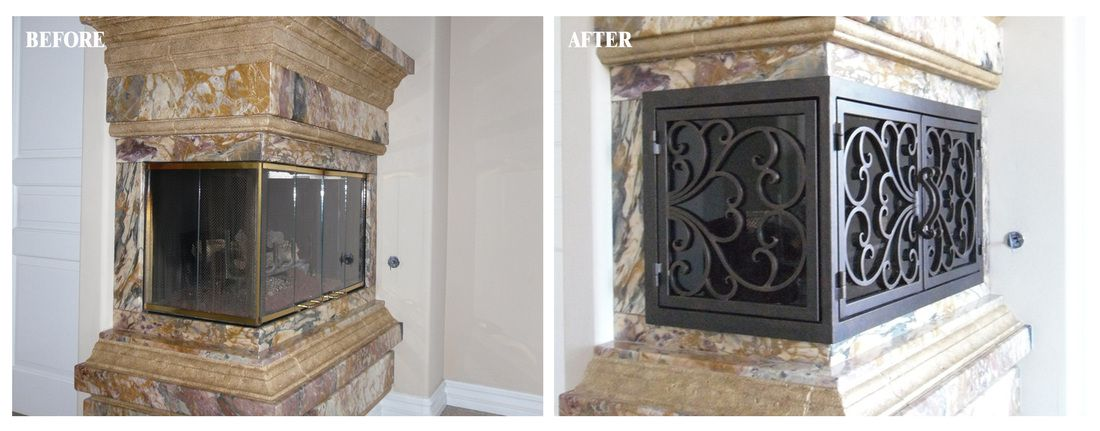 L Shaped Before After Ams Fireplace Custom Built Wrought Iron