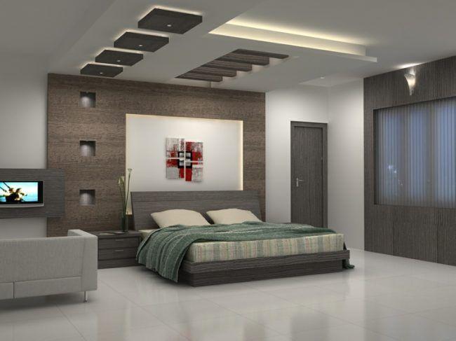 Led Schlafzimmer ~ Moderne deckengestaltung monochrom schlafzimmer balken kopfbrett