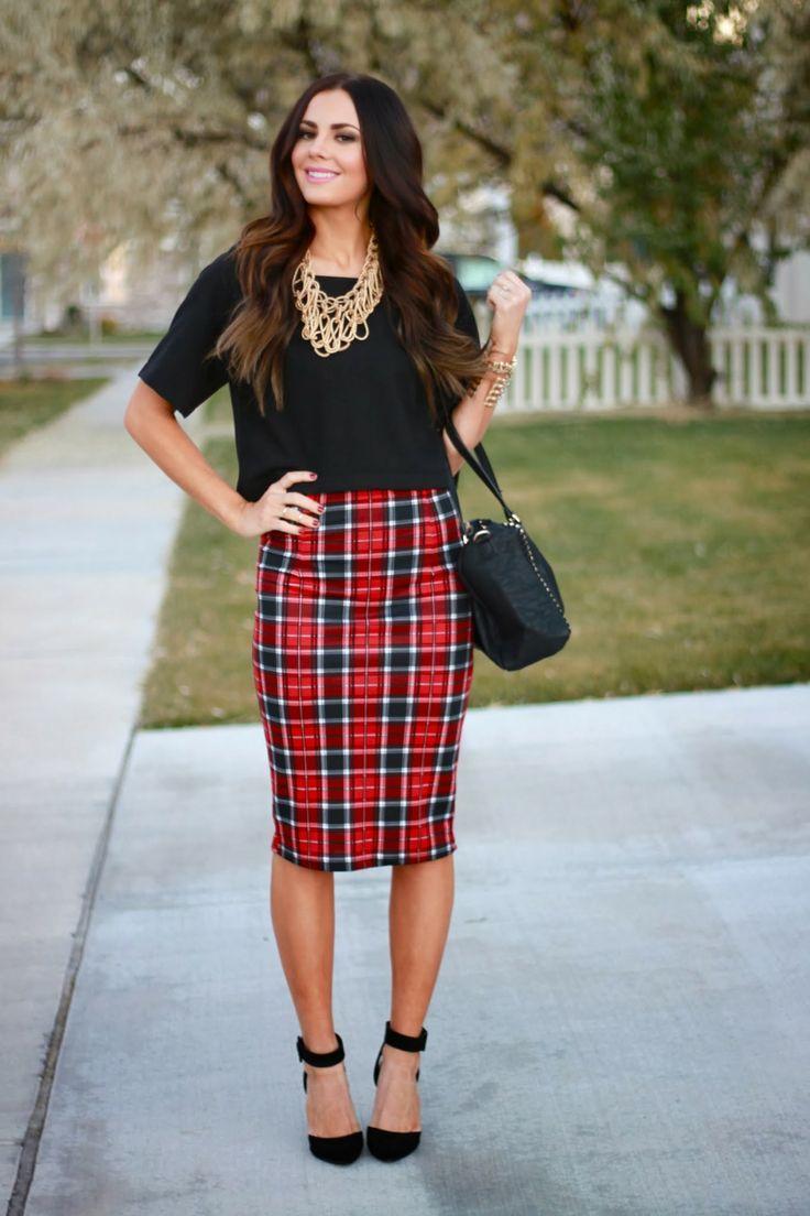 statement necklace / black blouse / plaid midi pencil skirt ...