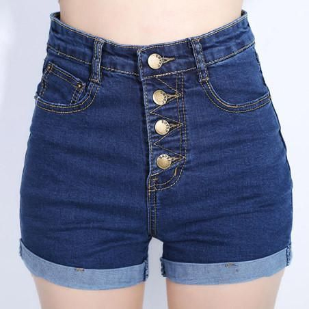 4 Buttons Retro Elastic High Waist Shorts Feminino Denim Shorts for Wo – Lifestyleshopee.com
