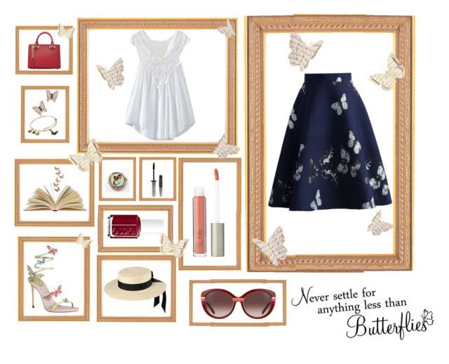 """""""Fly, butterfly, fly"""" by pandaeee ❤ liked on Polyvore featuring Chicwish, Salvatore Ferragamo, Ilia, Mich Dulce, L'Oréal Paris, MICHAEL Michael Kors, Bloomingdale's, Alex and Ani and Essie"""