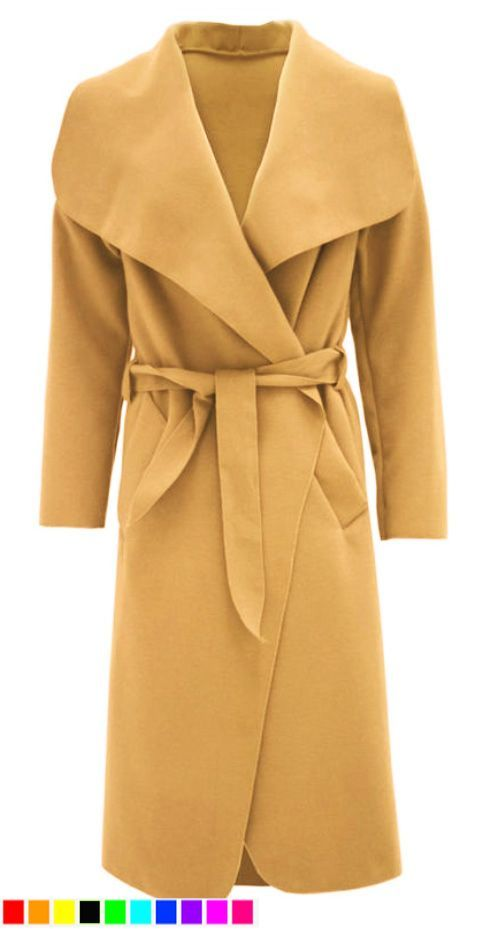 NEW LADIES WOMENS BELT JACKET DRAPED TRENCH DUSTER COAT IN PLUS SIZE.