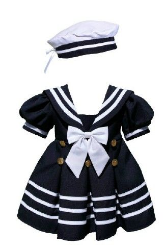 1a08ace8c39 Infant Girl Navy Nautical Sailor Dress and Hat