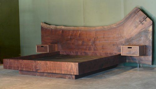 Claro walnut platform bed bjorling grant bedrooms for Bed slab