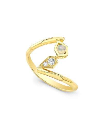 Ron Hami 14k Bubble Accent Ring with Opal & Diamonds, Size 7