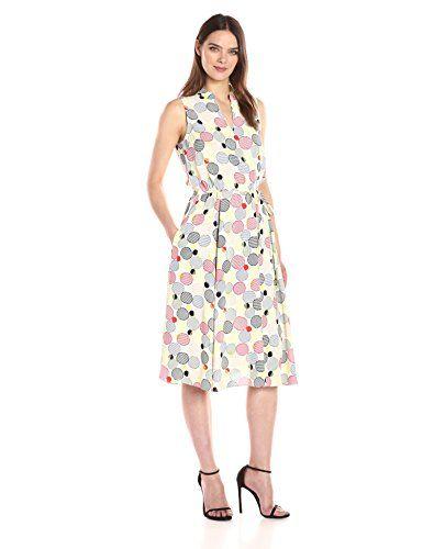 2017 Dresses Anne Klein Women's Bubble Printed Drawstring Waist Midi Dres...
