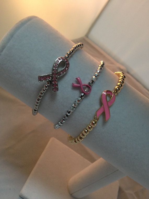Breast Cancer Awareness Bracelet by dollieLINKS on Etsy, $8.00