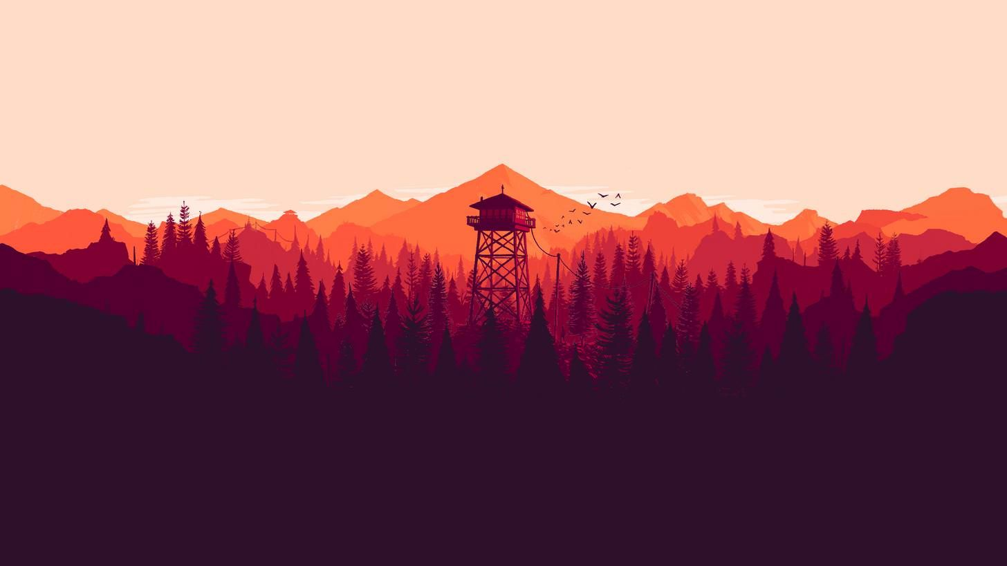 I Made Some Dual And Single Monitor Firewatch Wallpapers For Different Times Of The Day 19x1080 3840x1080 In Art Firewatch Digital Wallpaper