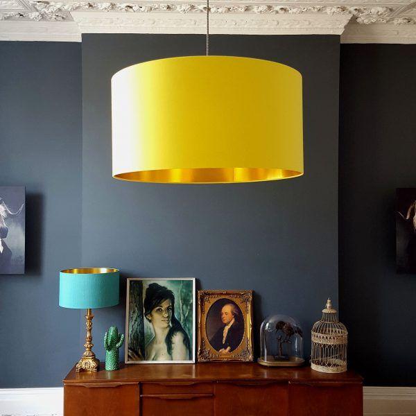 Sunshine Yellow Lampshade With Gold Lining Lampshades Lamp Shade Fabric Lampshade