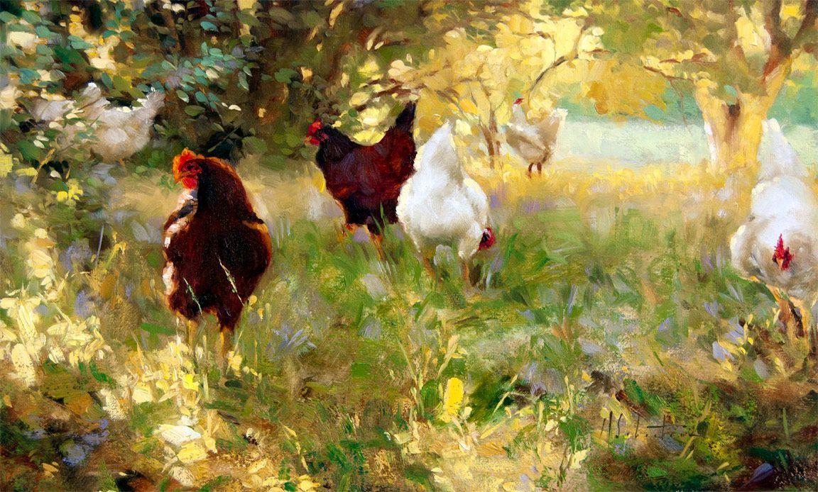 Maraschasteen Animal Paintings Fine Art Painting Chicken Art
