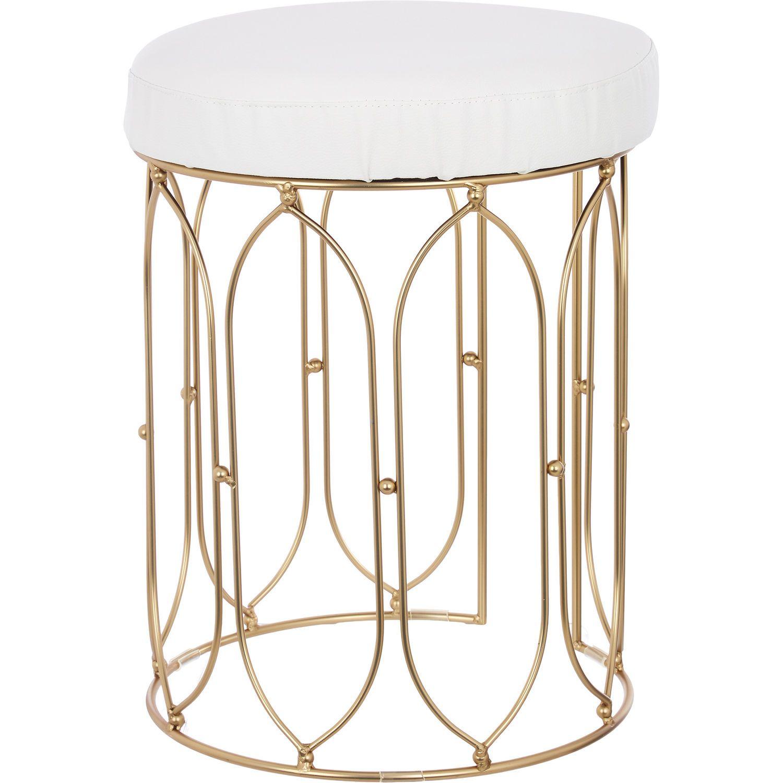 Gold White Vanity Stool 49x37cm Bathroom Accessories Bed
