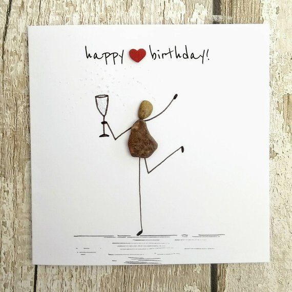 Birthday card pebble picture pebble art Stick man card prosecco lovers card Champagne lovers card unique card unusual card quirky card