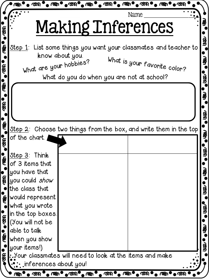 A Back To School Activity Idea Involving Making Inferences