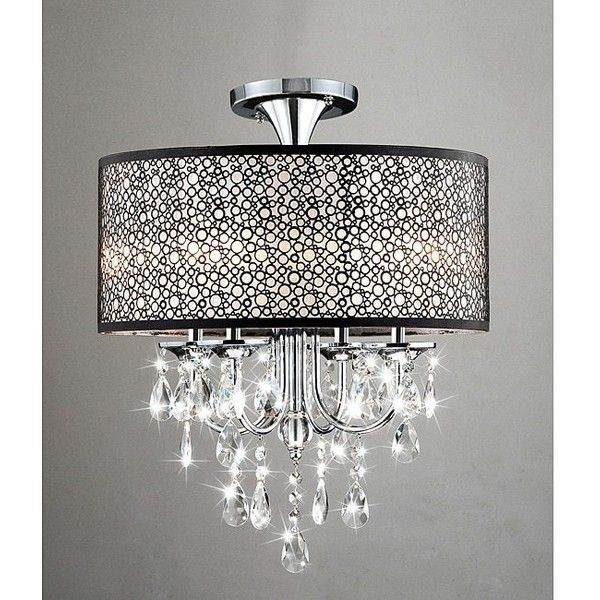Bubble Shade Crystal And Chrome Flushmount Chandelier 119 Liked On Polyvore Featuring Home Lighting Ceiling Lights Brown