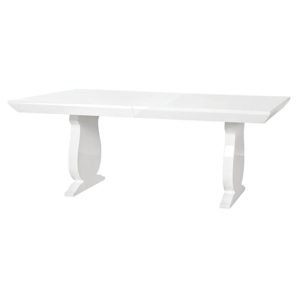 Corbin Modern Baluster White Lacquer Adjustable Dining Table