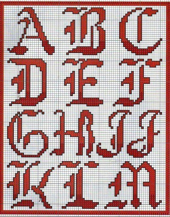 Letras goticas en punto de cruz - Imagui | Crochet | Pinterest ...