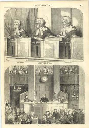 1856 William Palmer Prisoner Dock Trial Justice Creswell Campbell Baron Alderson | eBay