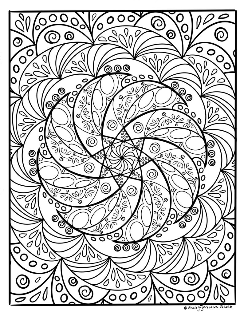 Swirl 2020 Digital Download Printable Coloring Page Etsy Coloring Pages Digital Download Etsy Swirl