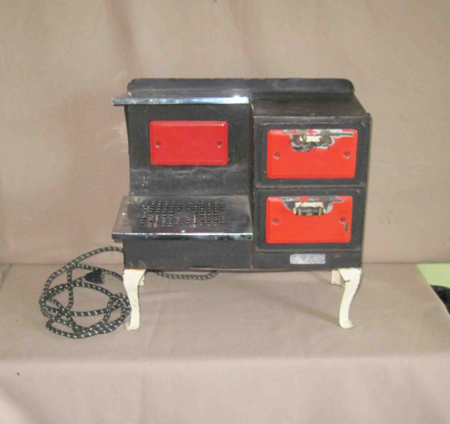 Vintage Empire Electric Toy Stove Double Ovens Stove Top Works 1930s Made In Usa Metal Ware Corp Wis Volts 110 W Double Oven Stove Old Stove Double Oven