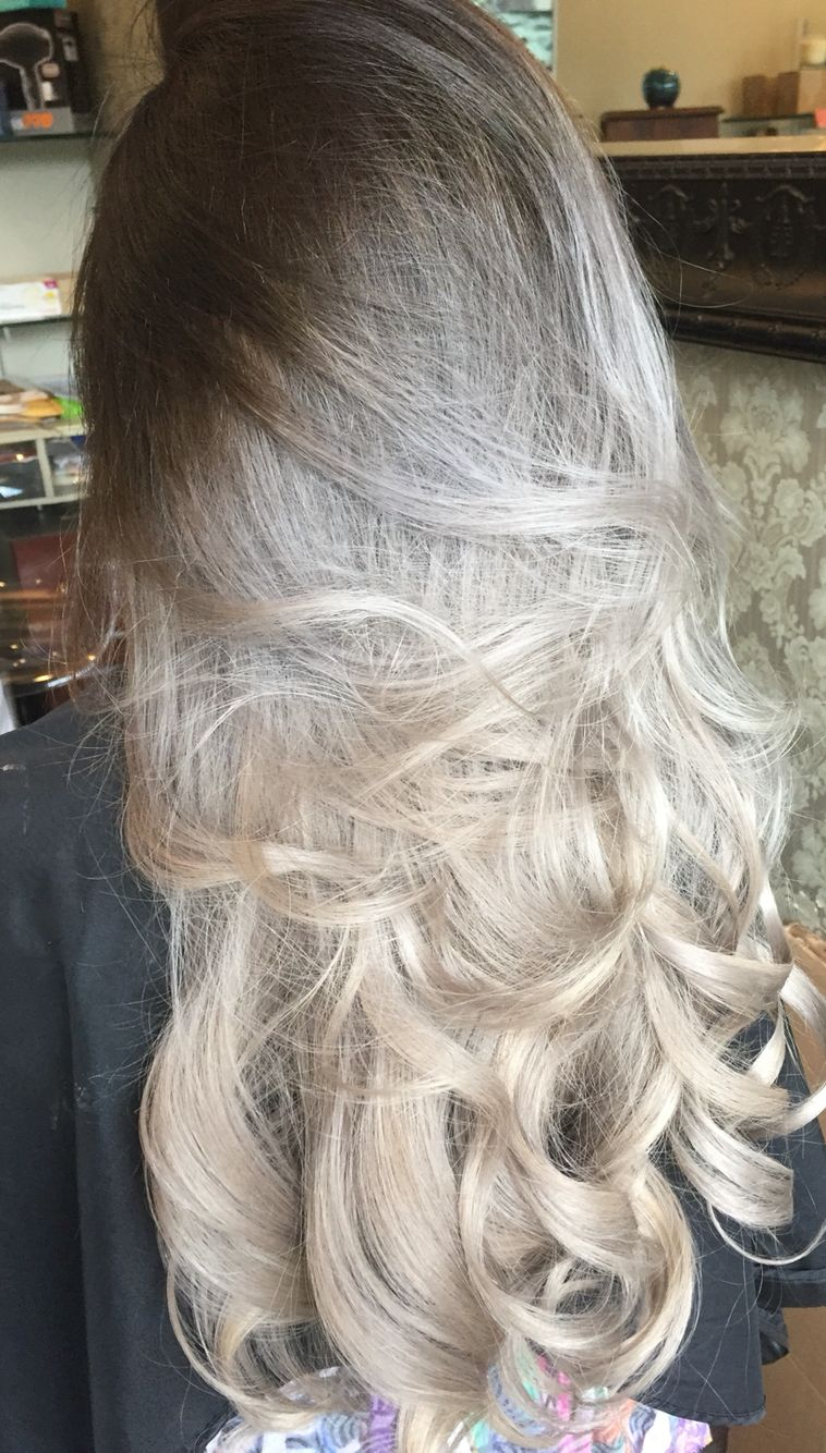 Silver Ombre Dark Root To Light Hair Silver Platinum Hair Grey