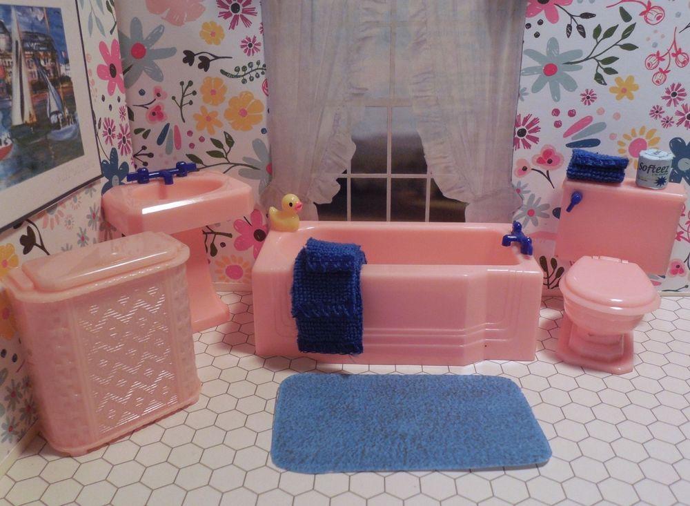 Vintage Ideal Tin Dollhouse Furniture Plastic 1:16 #