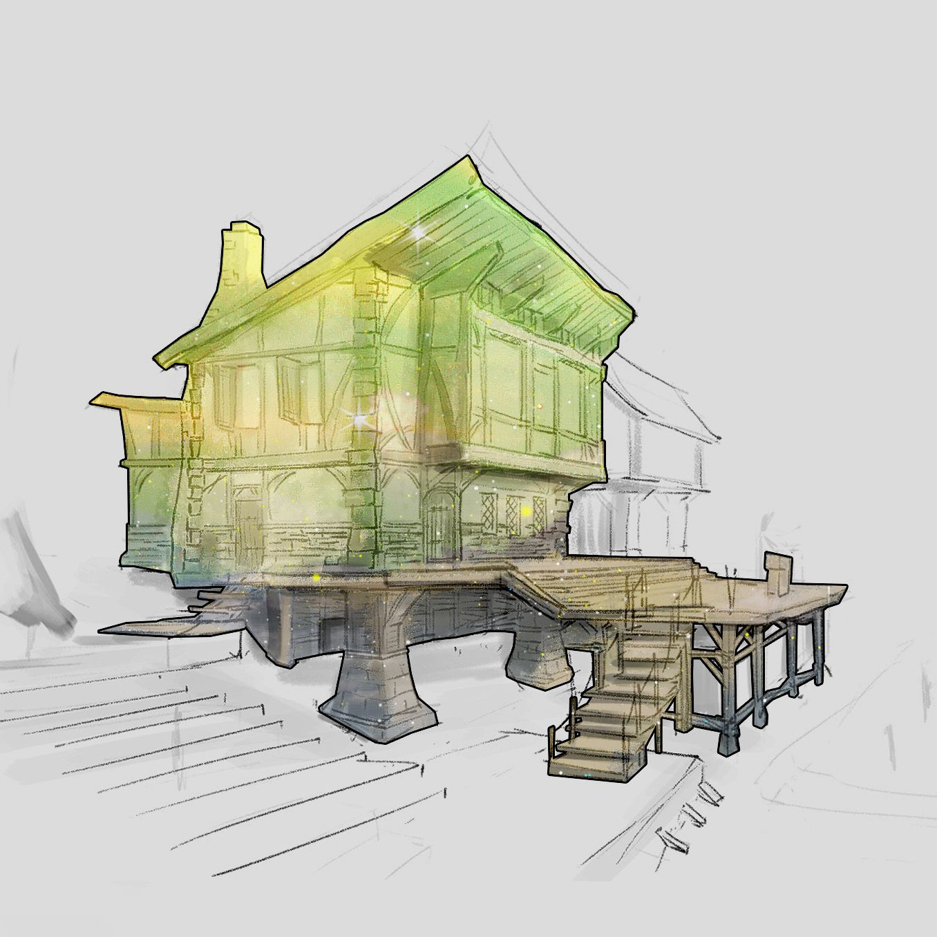 #art #artwork #architecture #sketch #design #illustration #drawing #photoshop #cs6 #건축스케치 #그림 #fantasy #conceptart #rough #game #gameart #perspective #스케치 #배경원화 #지제이 #color
