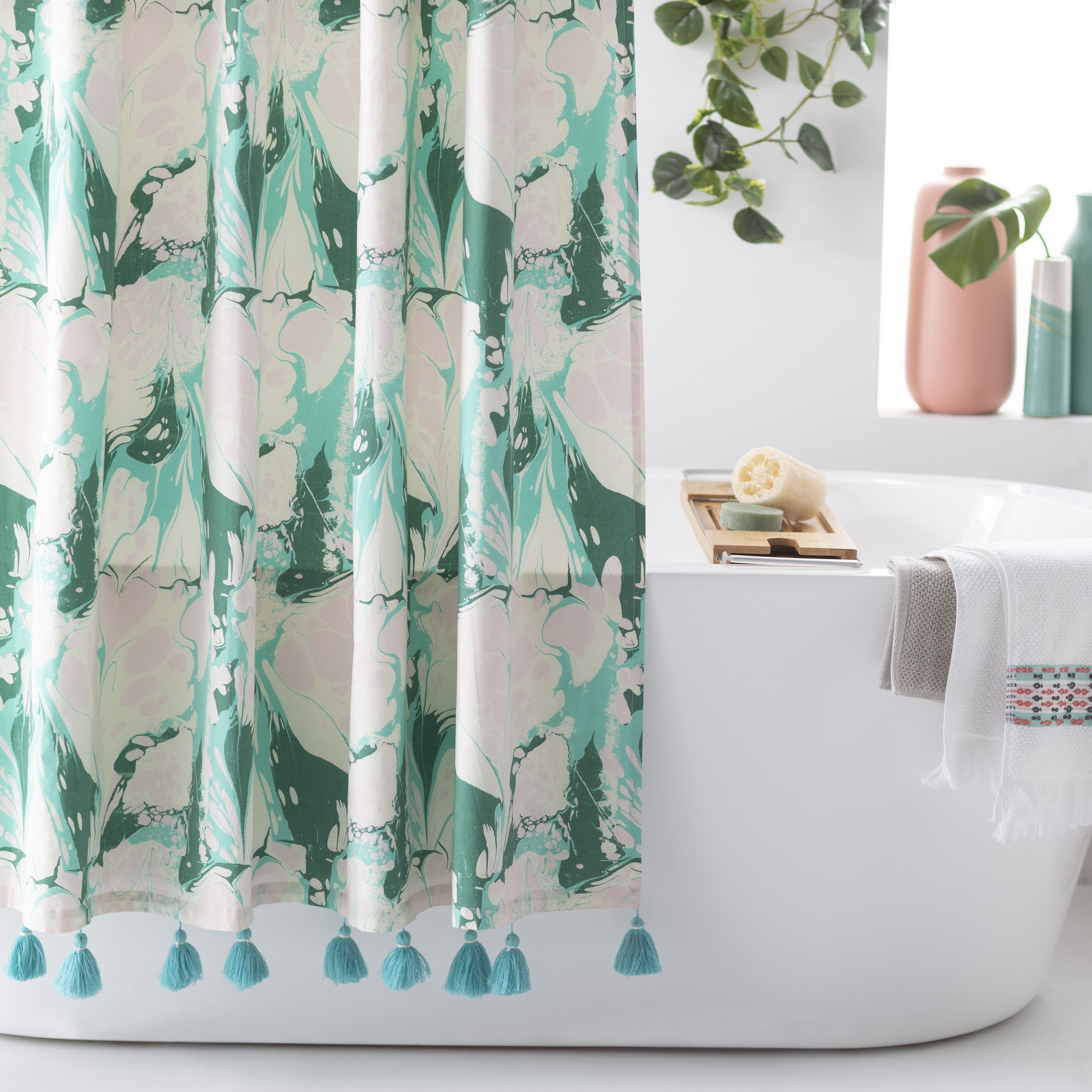 Vintage Marble Shower Curtain By Drew Barrymore Flower Home Walmart Com With Images Marble Showers