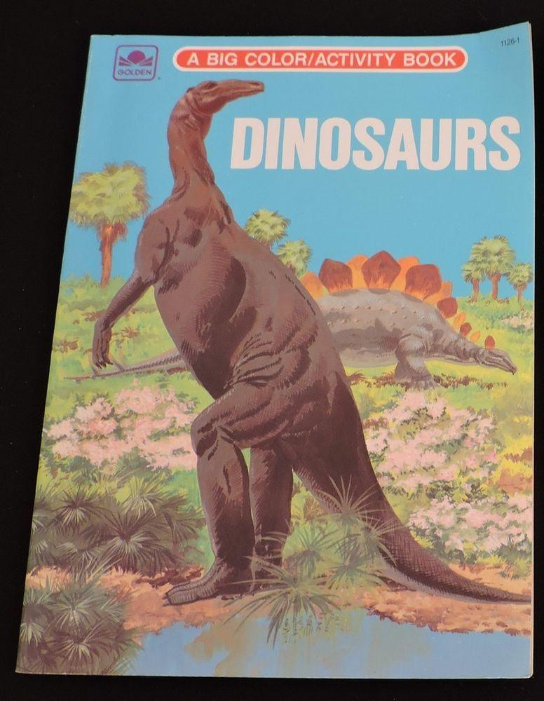Dinosaurs Big Coloring Activity Book Vintage 1970s Unused Golden Western T Rex Color Activities Book Activities Activities