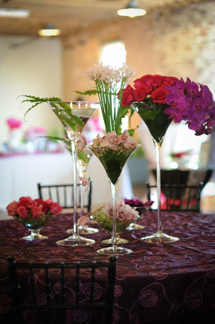 Vibrant Flowers In A Martini Glass Wedding Reception Table Ideas