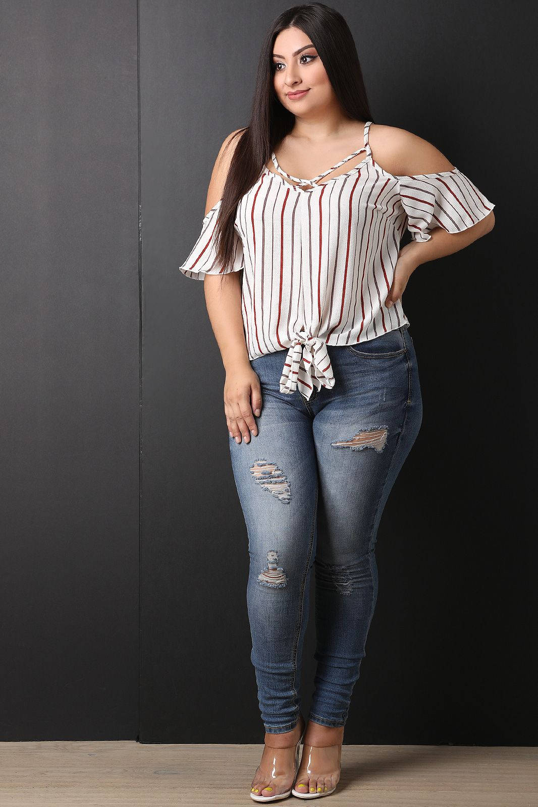 79df40b6a02603 Plus Size Striped Caged Yoke Cold Shoulder Top | UrbanOG | Plus Tops ...