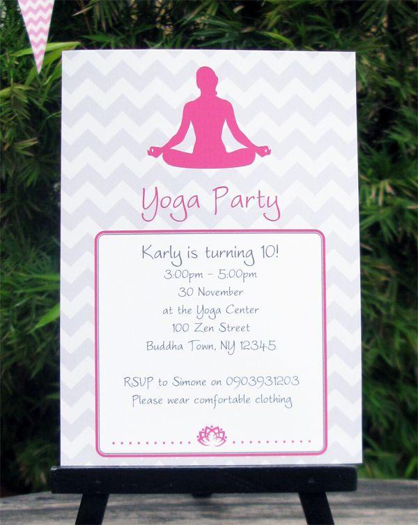 Yoga Birthday Party Invitations Decorations Cumple