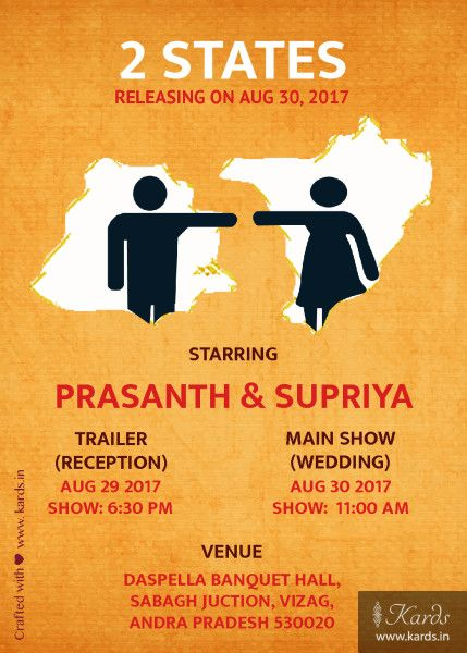 2 states movie poster invitation design online kards wedding