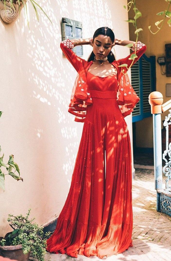 Indian outfit red outfit red clothing red jumpsuit #indiandesignerwear