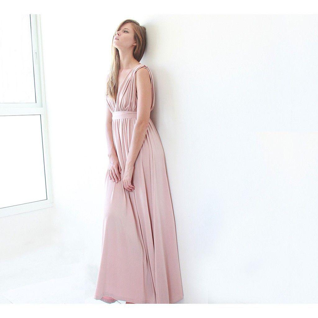 Pink blush dress maxi dress perfect bridesmaids maxi blush dress