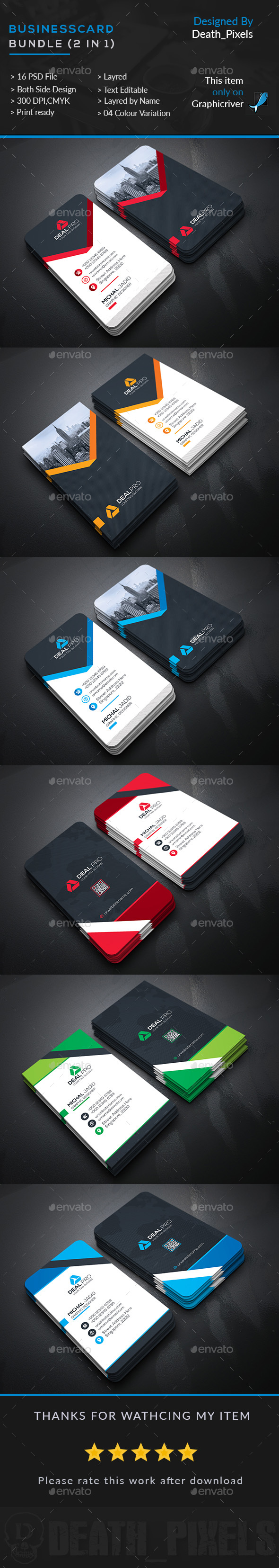 Business Card Bundle (2 in 1) — Photoshop PSD #creative #white ...