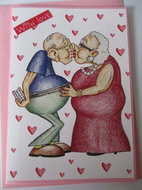 Golden OldiesValentineBirthday teethless kissGreeting Handmade