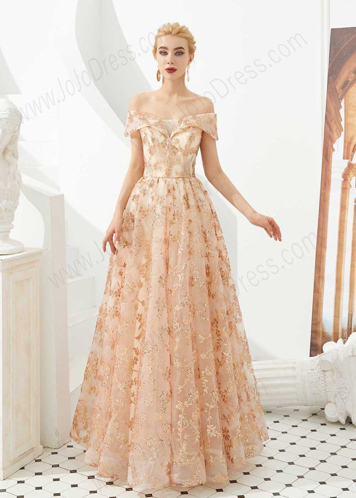 Rose Gold Lace Ball Gown Prom Dress -   17 prom dress Korean ideas