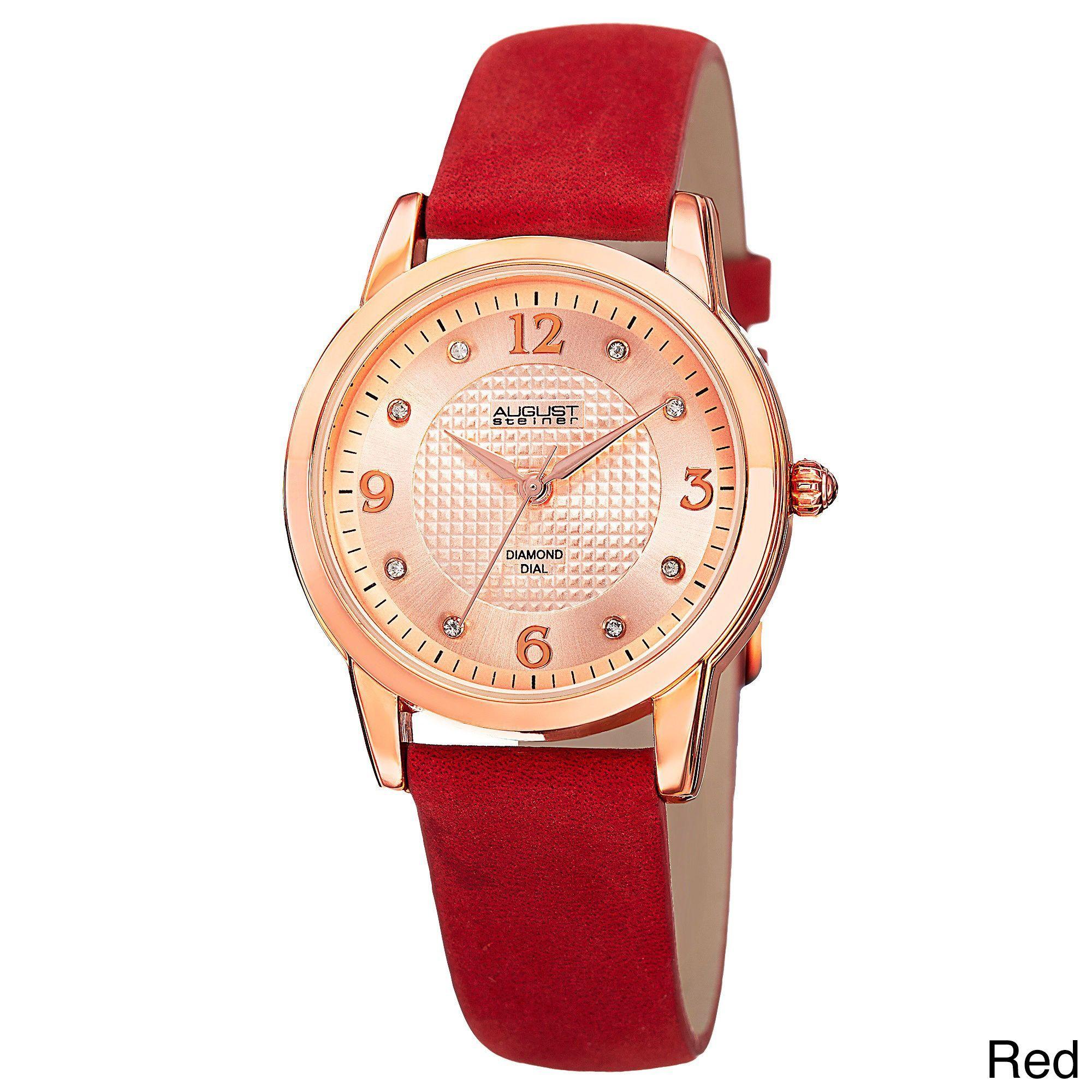 August Steiner Women's Quartz Diamond Strap Watch