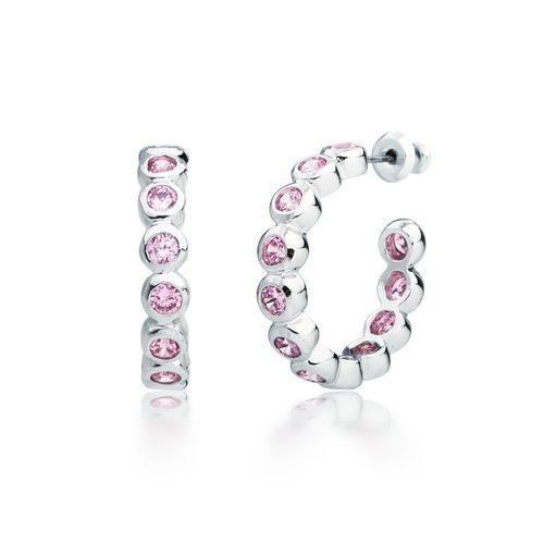Pink Cubic Zirconia Bezel Hoop Earrings