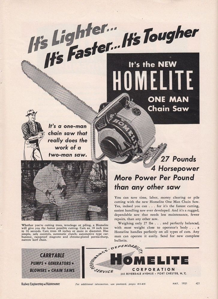 1951 Homelite Corp Port Chester NY Ad: New Homelite 4-hp One Man ...