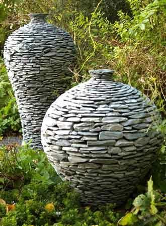 Stone pottery for outdoor garden ideas